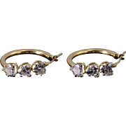 14K Cubic Zirconia Heart Encrusted Hollow Hoop Earrings Yellow Gold