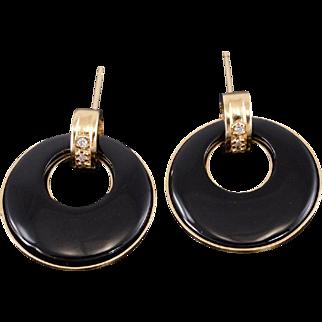14K Onyx Inlay Round Circle Cutout Dangle Earrings Yellow Gold