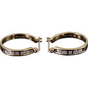 10K Diamond Channel Inset Hoop Earrings Yellow Gold
