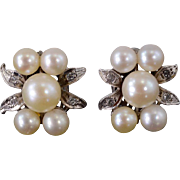 14K Pearl Cluster Diamond Accented Floral Motif Earrings White Gold