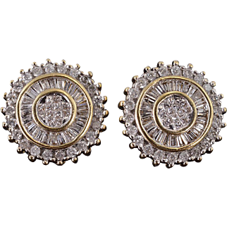 14K 1.70 Ctw Diamond Inset Round Halo Cluster Earrings Yellow Gold