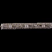 14K Art Deco Diamond Lattice Filigree Scroll Bar Pin/Brooch White Gold