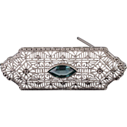 10K Art Deco Blue Topaz Marquise Scalloped Filigree Pin/Brooch White Gold