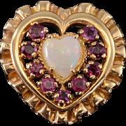14K Opal* Ruby Halo Heart Scalloped Ribbon Trim Pendant Yellow Gold