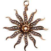 10K Victorian Seed Pearl Encrusted Sun Flower Pendant Yellow Gold