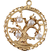 14K Pearl Beaded Round Tree of Life Pendant Yellow Gold