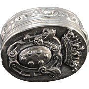 Sterling Silver Italy Coat of Arms Pill Box