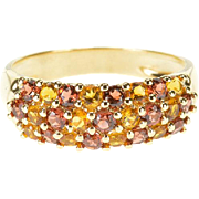 14K 1.50 Ctw Topaz Citrine Encrusted Pave Band Ring Size 10 Yellow Gold