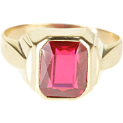10K Retro 3.00 Ct Ruby* Bezel Set Statement Ring Size 10 Yellow Gold