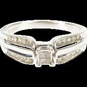 10K 0.30 Ctw Diamond Princess Channel Engagement Ring Size 7 White Gold