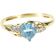 10K 0.87 Ctw Blue Topaz Cubic Zirconia Heart Bypass Ring Size 7 Yellow Gold