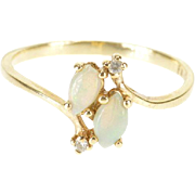10K Opal Diamond Marquise Cabochon Bypass Ring Size 7.5 Yellow Gold