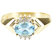 14K 1.06 Ctw Blue Topaz Diamond Oval Accent Ring Size 6 Yellow Gold