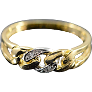 18K 0.02 CTW Diamond Chain Link Ring - Size 6.25 / Yellow Gold