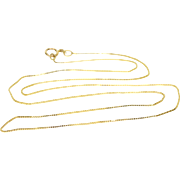 """14K 0.6mm Box Link Chain Necklace 18.5"""" Yellow Gold"""