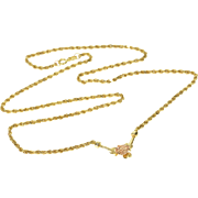 "14K 1.6mm Rope Link Chain Rose Pendant Necklace 18"" Yellow Gold"