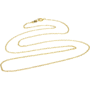 """14K 1.2mm Rolling Cable Chain Link Necklace 18"""" Yellow Gold"""