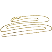 """14K 1.0mm Fancy Box Chain Link Necklace 18.5"""" Yellow Gold"""