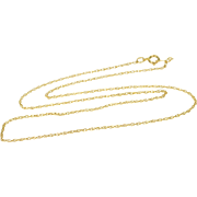"""14K 1.1mm Rolling Cable Link Chain Necklace 15.25"""" Yellow Gold"""