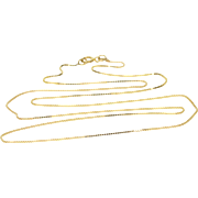 "14K 0.6mm Fancy Box Link Chain Necklace 18"" Yellow Gold"