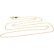 """14K 1.0mm Fancy Rolling Link Cable Chain Necklace 17.5"""" Yellow Gold"""