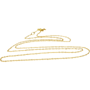 """14K 1.0mm Cable Link Rolling Chain Necklace 18.25"""" Yellow Gold"""