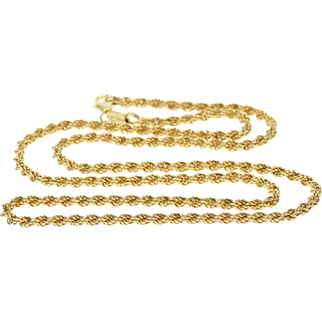 """14K 2.7mm Rope Link Fancy Chain Necklace 19.75"""" Yellow Gold"""