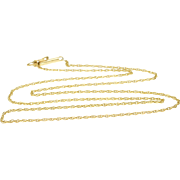 """14K 1.2mm Cable Chain Rolling Link Necklace 18.25"""" Yellow Gold"""