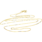 """14K 0.5mm Box Link Fancy Chain Necklace 18.5"""" Yellow Gold"""