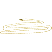"""14K 1.0mm Rolling Cable Link Chain Necklace 18.5"""" Yellow Gold"""