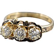 Victorian 18K 1.50 Ctw VS Diamond & Black Enamel Ring Size 8.75 Yellow Gold