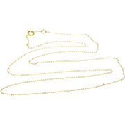 "14K 0.9mm Cable Link Fancy Chain Necklace 19.5"" Yellow Gold"