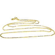 """14K 1.1mm Box Link Chain Necklace 18.5"""" Yellow Gold"""