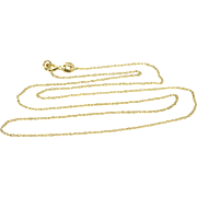 """14K 0.9mm Squared Cable Link Chain Necklace 18"""" Yellow Gold"""