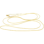 """14K 0.7mm Fancy Box Link Chain Necklace 23.75"""" Yellow Gold"""