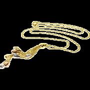 "14K 1.0mm Ball Bearing Beaded Link Fringe Pendant Necklace 17"" Yellow Gold"