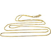 "14K 0.9mm Box Chain Link Necklace 20.75"" Yellow Gold"