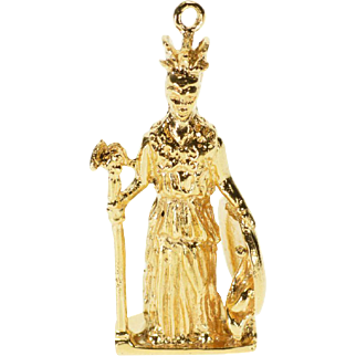 18K Warrior God of War Ares Robes Figure Scepter Shield Charm/Pendant Yellow Gold