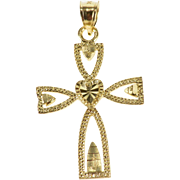 10K Pitted Texture Cross Heart Detail Charm/Pendant Yellow Gold