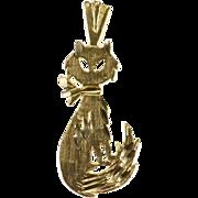 14K Diamond Cut Cat Kitty Kitten Charm/Pendant Yellow Gold