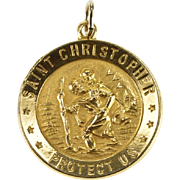 14K Saint Christopher Protect Us Catholic Charm/Pendant Yellow Gold