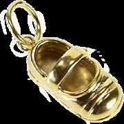 14K Mary Jane Little Girl Shoe Charm/Pendant Yellow Gold