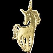 14K 2D Unicorn Fantasy Creature Charm/Pendant Yellow Gold