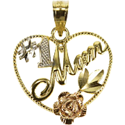 14K #1 Number One Mom Heart Rose Tri-Color Charm/Pendant Yellow Gold