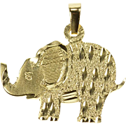14K Textured African Elephant Stylized Animal Charm/Pendant Yellow Gold