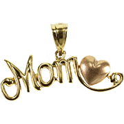 14K Mom Heart Accent Curvy Letter Charm/Pendant Yellow Gold