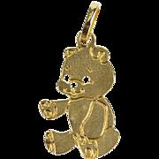 14K Teddy Bear Pressed Charm/Pendant Yellow Gold