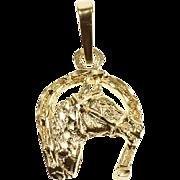 14K Horse Horseshoe Equestrian Good Luck Charm/Pendant Yellow Gold