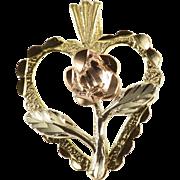 14K Three Tone Heart Rose Textured Sweetheart Charm/Pendant Yellow Gold