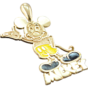 10K Mickey Mouse Charm/Pendant Yellow Gold
